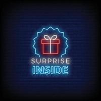 Surprise Inside Neon Signs Style Text Vector