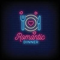 cena romántica letreros de neón estilo texto vector