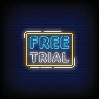 Free Trial Neon Signs Style Text Vector
