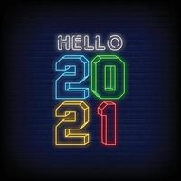 Hello 2021 Neon Signs Style Text Vector