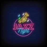 vector de texto de estilo de letreros de neón de noche de jazz