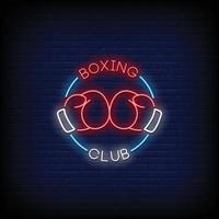 club de boxeo letreros de neón estilo vector de texto
