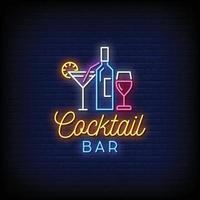 vector de texto de estilo de letreros de neón de bar de cócteles