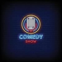 vector de texto de estilo de letreros de neón de espectáculo de comedia