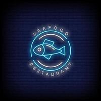 Seafood Restaurant Neon Signs Style Text Vector