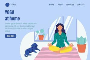 Yoga at home. Website homepage landing web page template. A young woman meditates at home. The concept of daily life, everyday leisure and work activities. Flat cartoon vector illustration.
