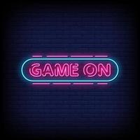 Game On Neon Signs Style Text Vector