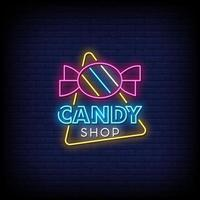 vector de texto de estilo de letreros de neón de tienda de dulces
