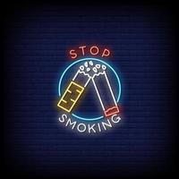 Stop Smoking Neon Signs Style Text Vector