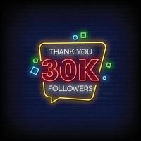 Thank You 30k Followers Neon Signs Style Text Vector