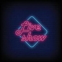 show en vivo letreros de neón estilo texto vector