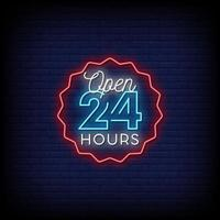 Open 24 Hours Neon Signs Style Text Vector