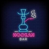 hookah bar letreros de neón estilo texto vector
