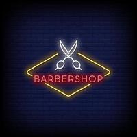 vector de texto de estilo de letreros de neón de peluquería