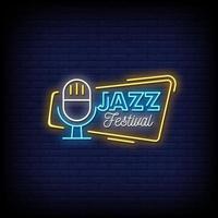 festival de jazz letreros de neón estilo texto vector