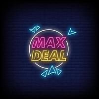 Max Deal Neon Signs Style Text Vector