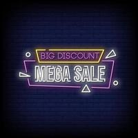 Big Discount Mega Sale Neon Signs Style Text Vector