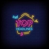 Top Headlines Neon Signs Style Text Vector