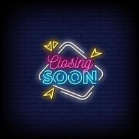 Closing Soon Neon Signs Style Text Vector