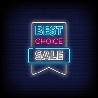 Best Choice Sale Neon Signs Style Text Vector