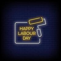 Happy Labor Day Neon Signs Style Text Vector