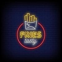 Fries Tasty Neon Signs Style Text Vector