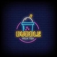 vector de texto de estilo de letreros de neón de té de leche de burbuja