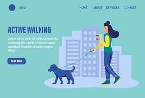 Active walking. Website homepage landing web page template. A young woman walks her dog. The concept of daily life, everyday leisure and work activities. Flat cartoon vector illustration.