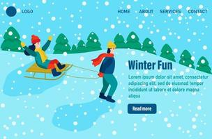 Winter fun Landing page templates. Children dressed in winter clothes or outerwear performing outdoor activities fun. Snow festival or sledding. Flat vector illustration
