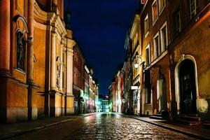 Old historical part of Warsaw Poland in the light of night lights photo