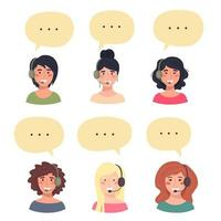 Set of avatars of cute happy young women, customer service phone operator. Portrait of smiling girls, call center workers with headset and speech bubbles. Vector illustration.