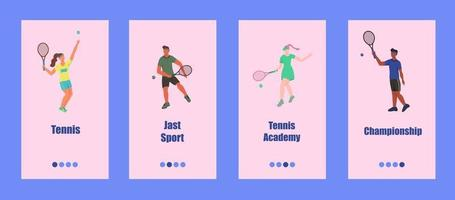 Tennis mobile app template. Young people play tennis. Concept of a tennis school, competition, or championship. Flat vector illustration.