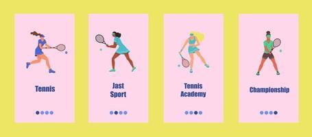 plantilla de aplicación móvil de tenis. los jóvenes juegan al tenis. concepto de escuela, competición o campeonato de tenis. ilustración vectorial plana. vector