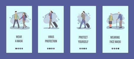 People wear masks mobile app template.  Concept of epidemic control, air pollution, covid-19. Flat vector illustration.