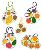Collection string bags with fruits. Hand drawn concept of eco shopping, eco shopping, fruit shopping. Vector illustration.