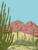Organ Pipe cactus monumento nacional y reserva de la biosfera ubicado en arizona y el estado mexicano de sonora wpa poster art vector
