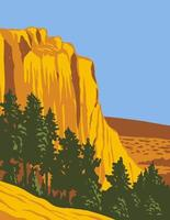 The Sandstone Bluff of El Morro National Monument in Cibola County, New Mexico WPA Poster Art vector