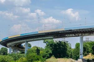 Bridge hydroelectric plant on blue sky background