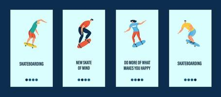 Young people riding a skateboard mobile app template vector