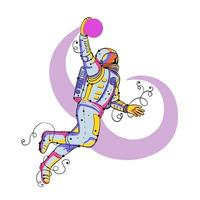 Astronaut Dunking Ball Doodle vector