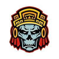 mascota del cráneo del guerrero azteca vector