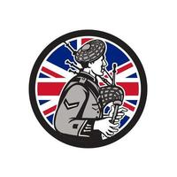 Bagpipe scotsman with UK flag logo vector