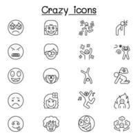 Crazy line icon vector