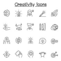 Creative icons set in thin line style vector