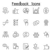 conjunto de iconos de línea de comentarios de los clientes. contiene íconos como revisión, comentario, lealtad, gestión de relaciones con el cliente, satisfacción y más vector