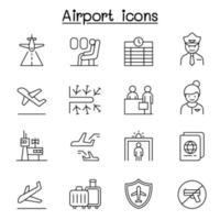 Airport, aviation icon set in thin line style vector