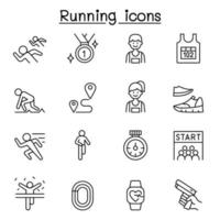 Running competition icon set in thin line style vector