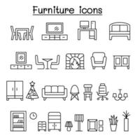Furniture icon set in thin line style vector