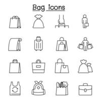 Bag icons set in thin line style vector