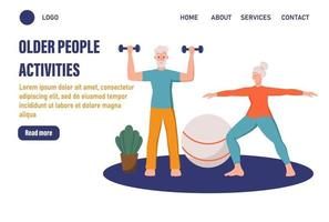 Older people activities page template. An elderly couple plays sports at home. The concept of active old age. Day of the elderly. Flat vector illustration